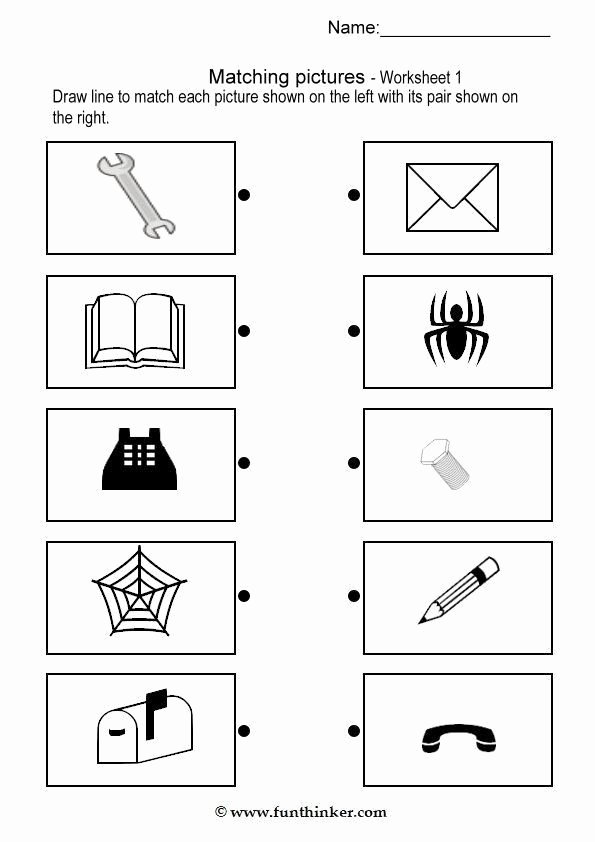 Pairing Worksheets for Preschoolers Lovely Matching Picture Brain Teaser Worksheets 1