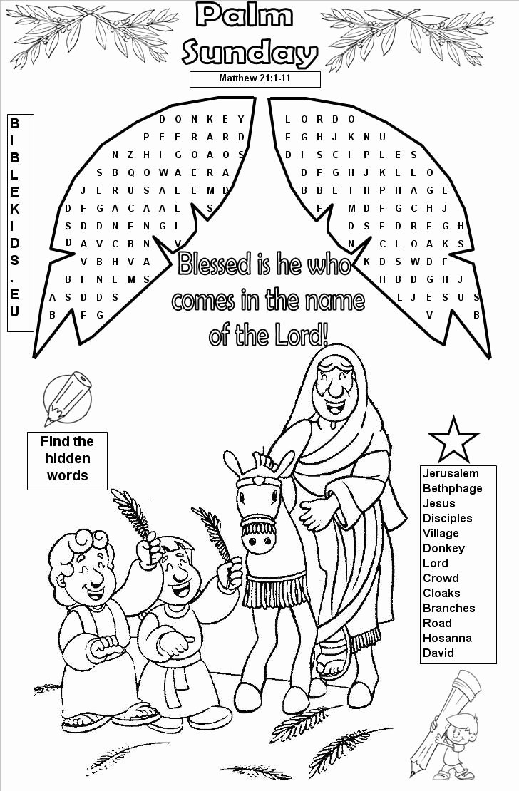 Palm Sunday Worksheets for Preschoolers New Bible Word Search Puzzles Printable Bible Word Search