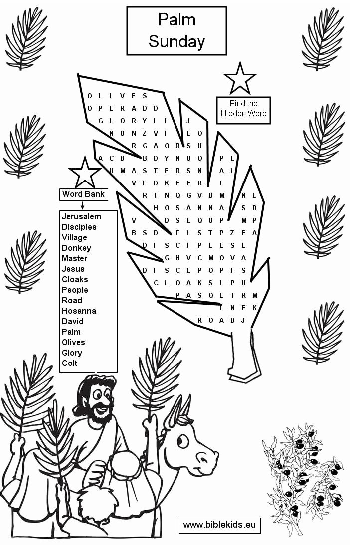 Palm Sunday Worksheets for Preschoolers top Palm Sunday Word Seach Puzzle