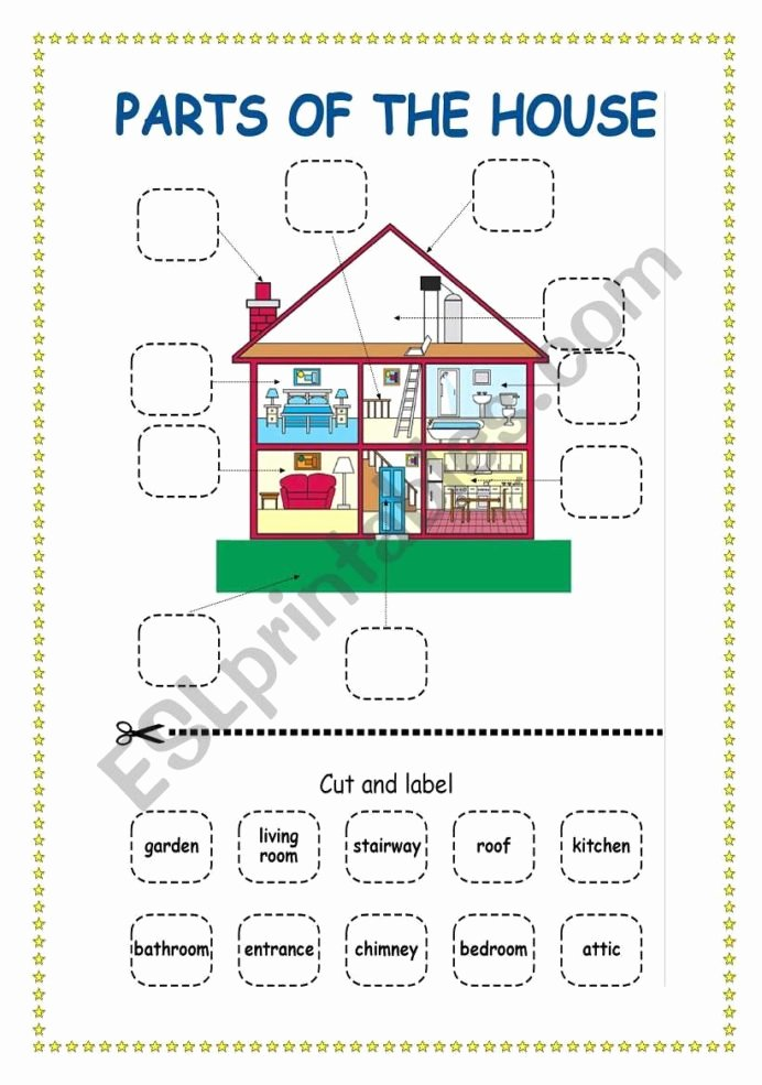 Parts Of the House Worksheets for Preschoolers Best Of Parts the House Esl Worksheet by Scampi Worksheets
