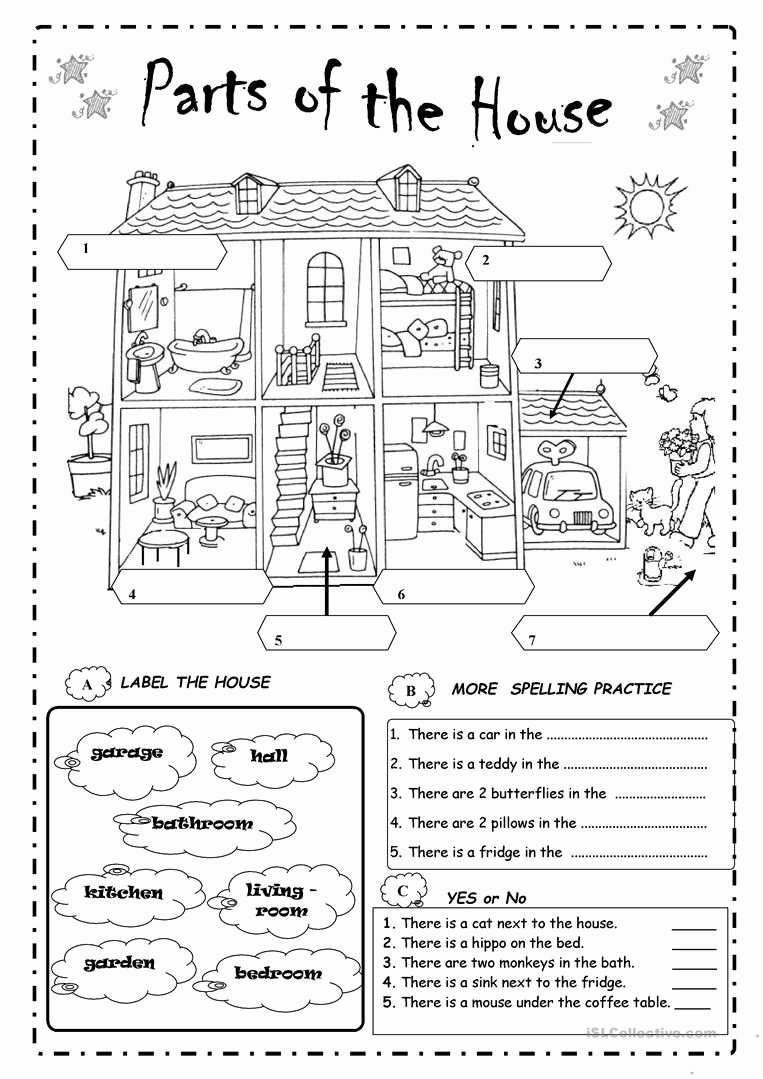 Parts Of the House Worksheets for Preschoolers Free Parts Of the House English Esl Worksheets for Distance