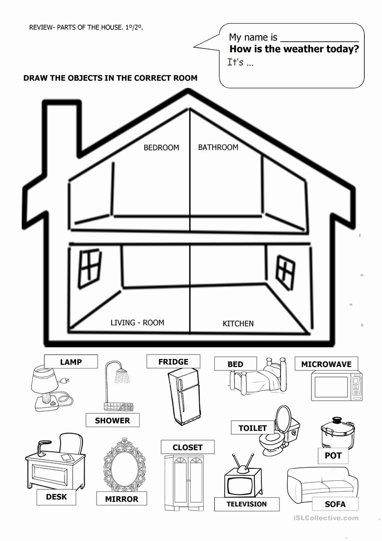 Parts Of the House Worksheets for Preschoolers Inspirational House and Furniture