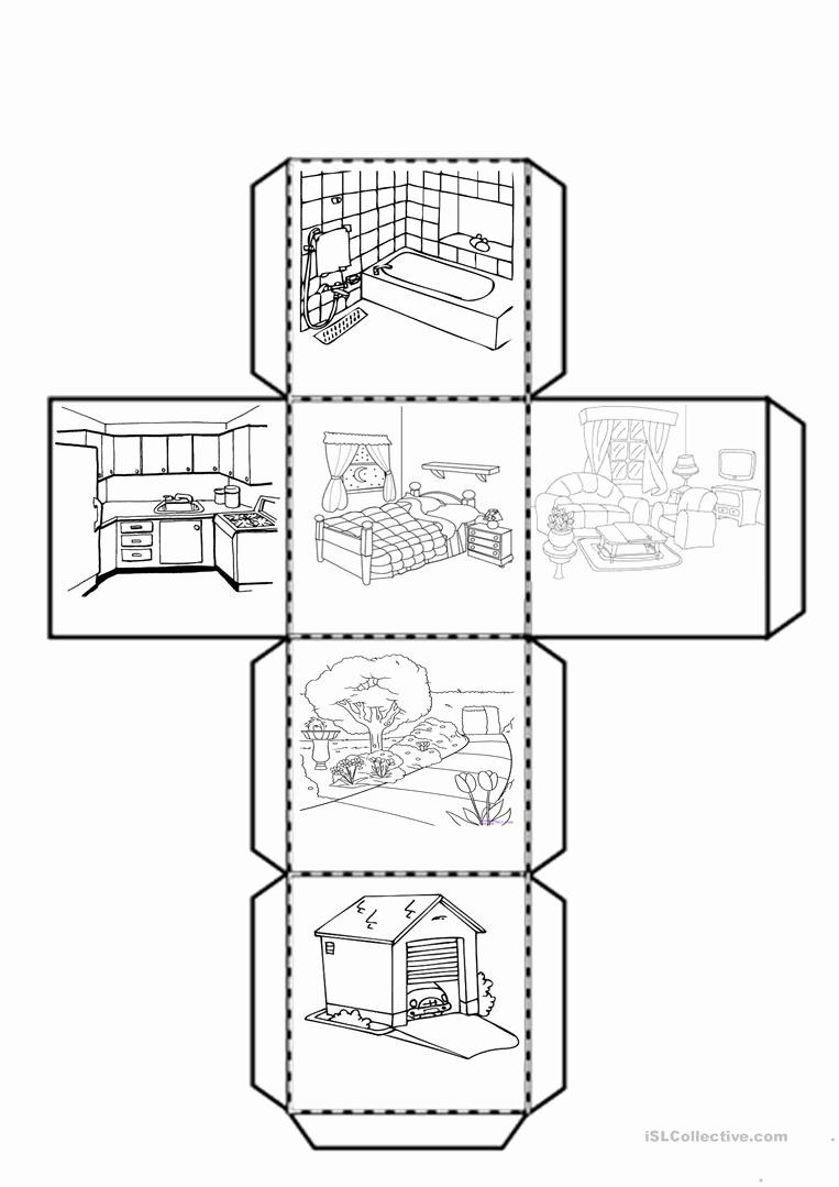 Parts Of the House Worksheets for Preschoolers Printable Cube with the Parts Of the House English Esl Worksheets