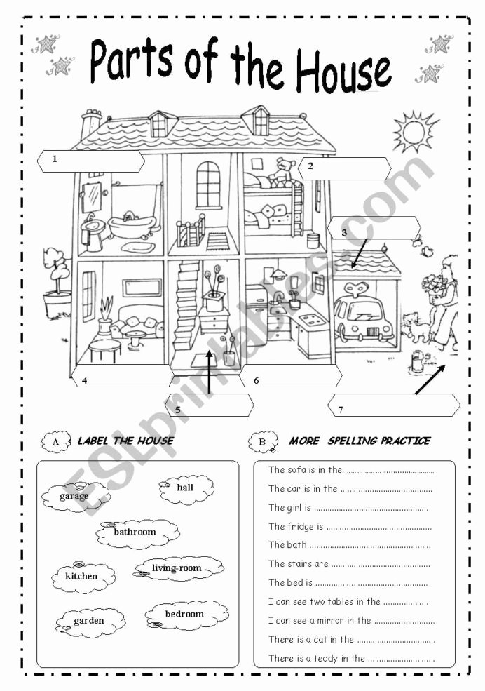 Parts Of the House Worksheets for Preschoolers Printable Parts the House English Esl Worksheets for Distance
