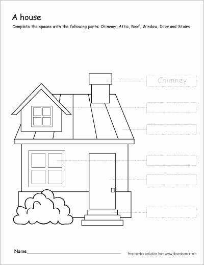 Parts Of the House Worksheets for Preschoolers top Colour the Parts Of the House