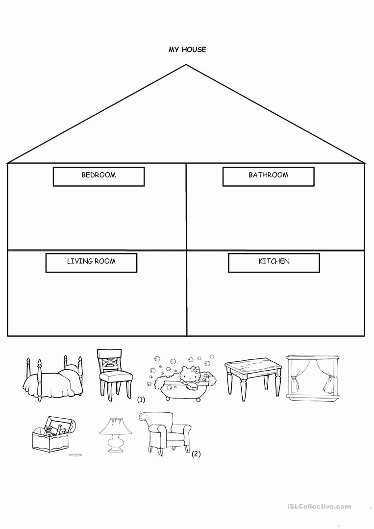 Parts Of the House Worksheets for Preschoolers top My House Cut and Paste English Esl Worksheets for