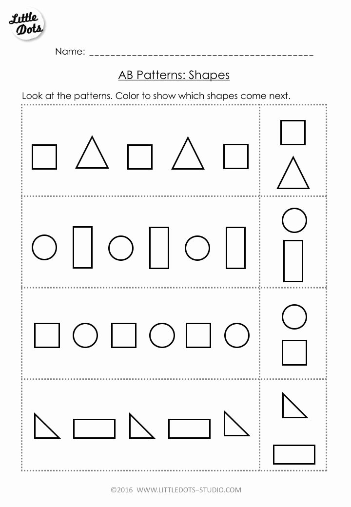 Pattern Worksheets for Preschoolers Free Inspirational Free Ab Pattern Worksheet for Pre K Continue the Ab