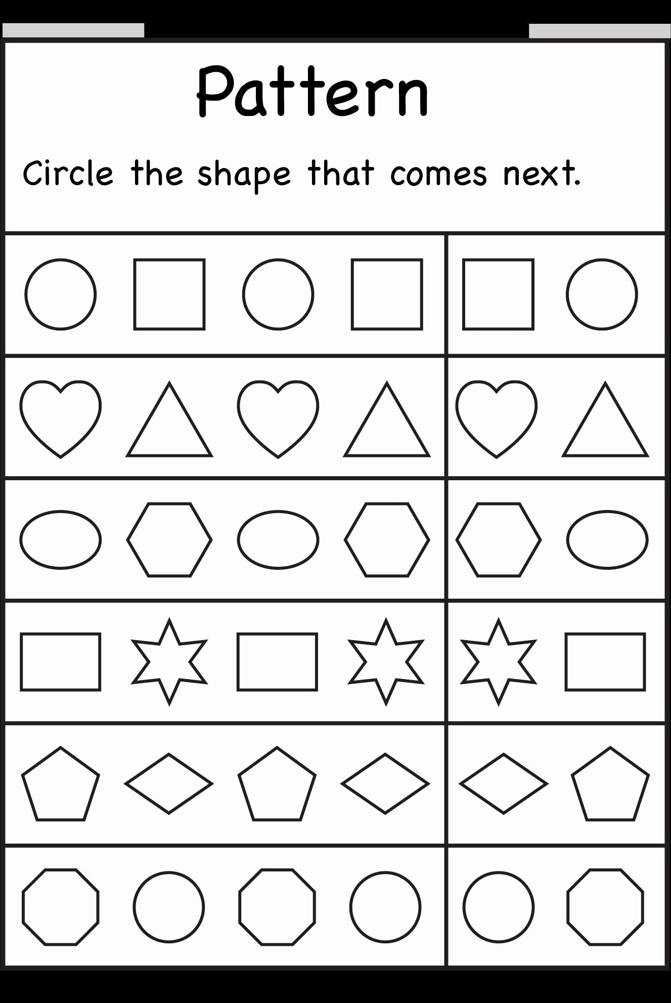 Pattern Worksheets for Preschoolers Free Lovely Pin by Renee Braddy On Kindergarten