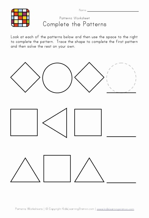 Pattern Worksheets for Preschoolers Free New Worksheet Easy Worksheets for Preschoolers Preschool