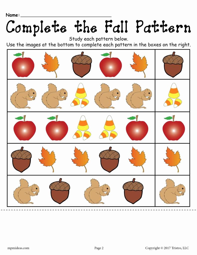 Pattern Worksheets for Preschoolers Free top Printable Fall Pattern Worksheet