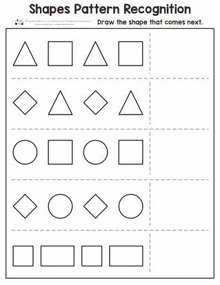 Pattern Worksheets for Preschoolers Kids Shapes Pattern Recognition for Kindergarten Itsybitsyfun
