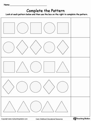 Pattern Worksheets for Preschoolers top Early Childhood Math Worksheets