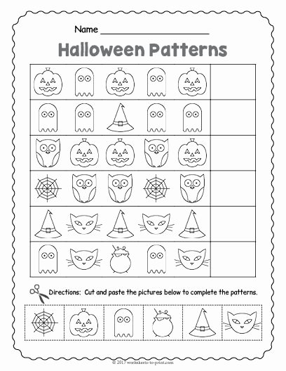 Patterning Worksheets for Preschoolers Ideas Free Printable Halloween Pattern Worksheet themed Math