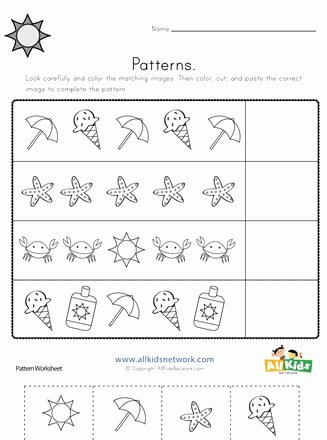Patterning Worksheets for Preschoolers Kids Summer Cut and Paste Patterns Worksheet
