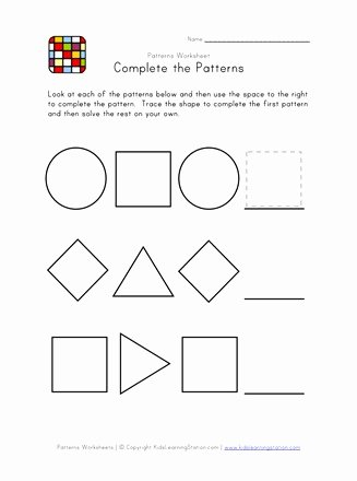 Patterning Worksheets for Preschoolers Lovely Easy Preschool Patterns Worksheet 2 Black and White