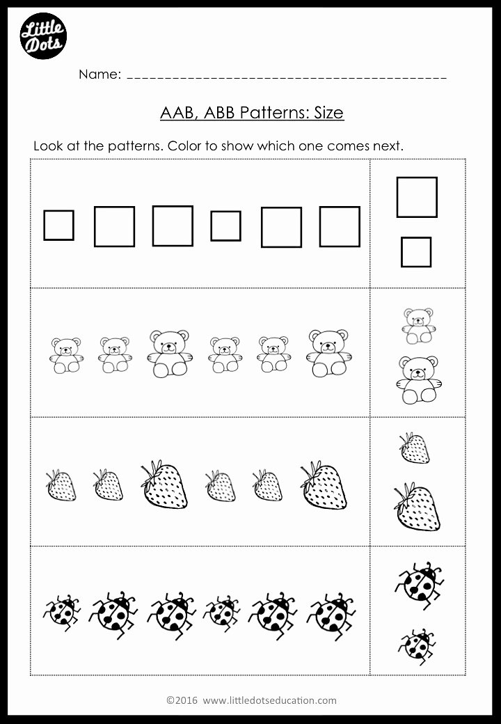 Patterning Worksheets for Preschoolers Printable Pre K Math Ab Patterns Worksheets and Activities