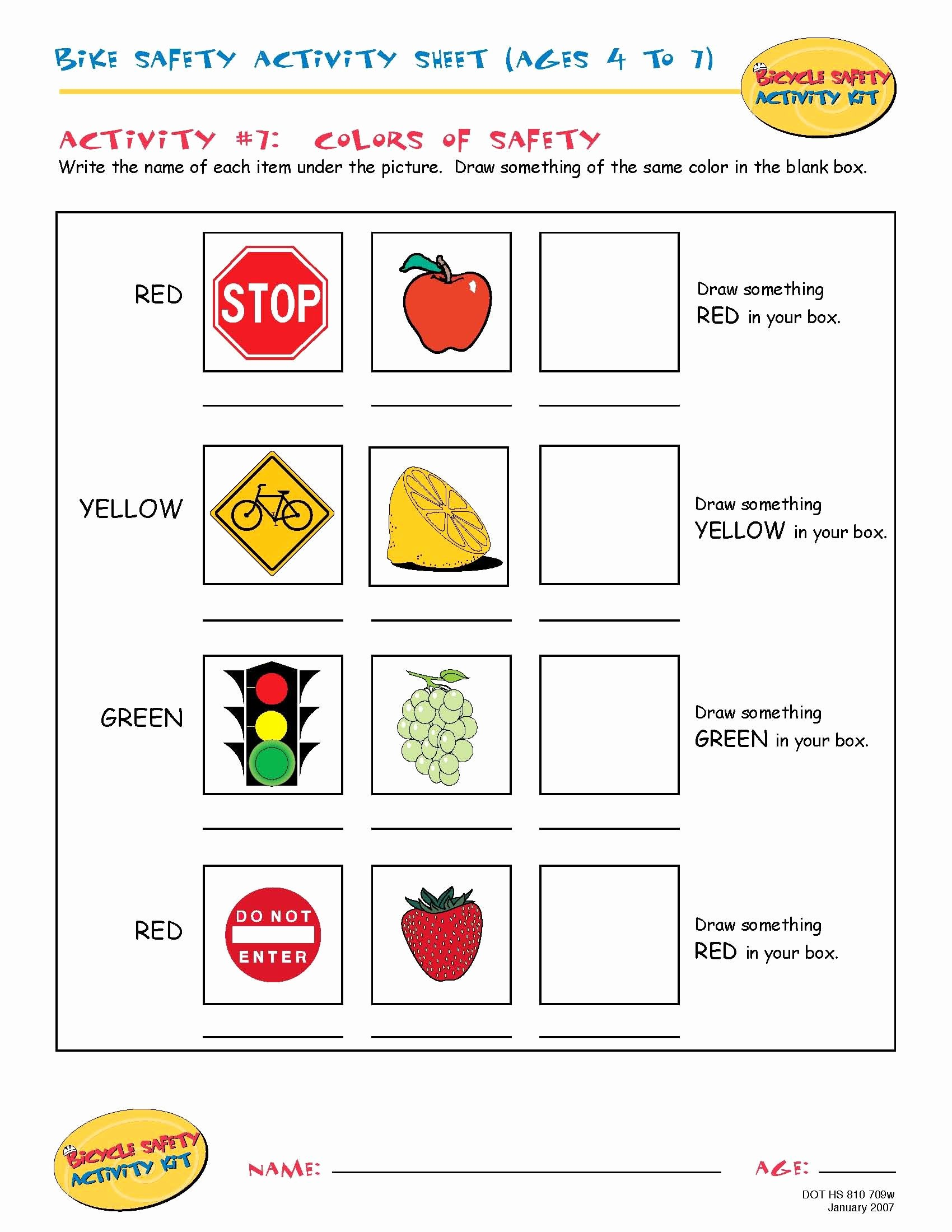 Pedestrian Safety Worksheets for Preschoolers Best Of Bike Safety Activity Sheet Ages 4 to 7 Colors Of Safety