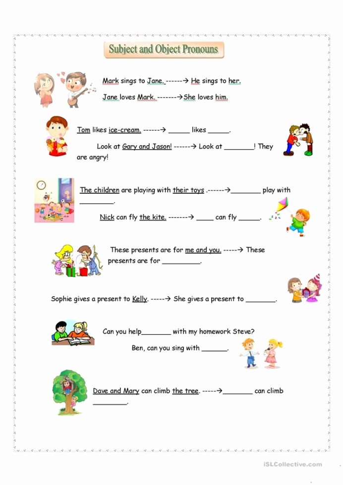 Personal Pronouns Worksheets for Preschoolers Best Of Subject and Object Pronouns English Esl Worksheets for