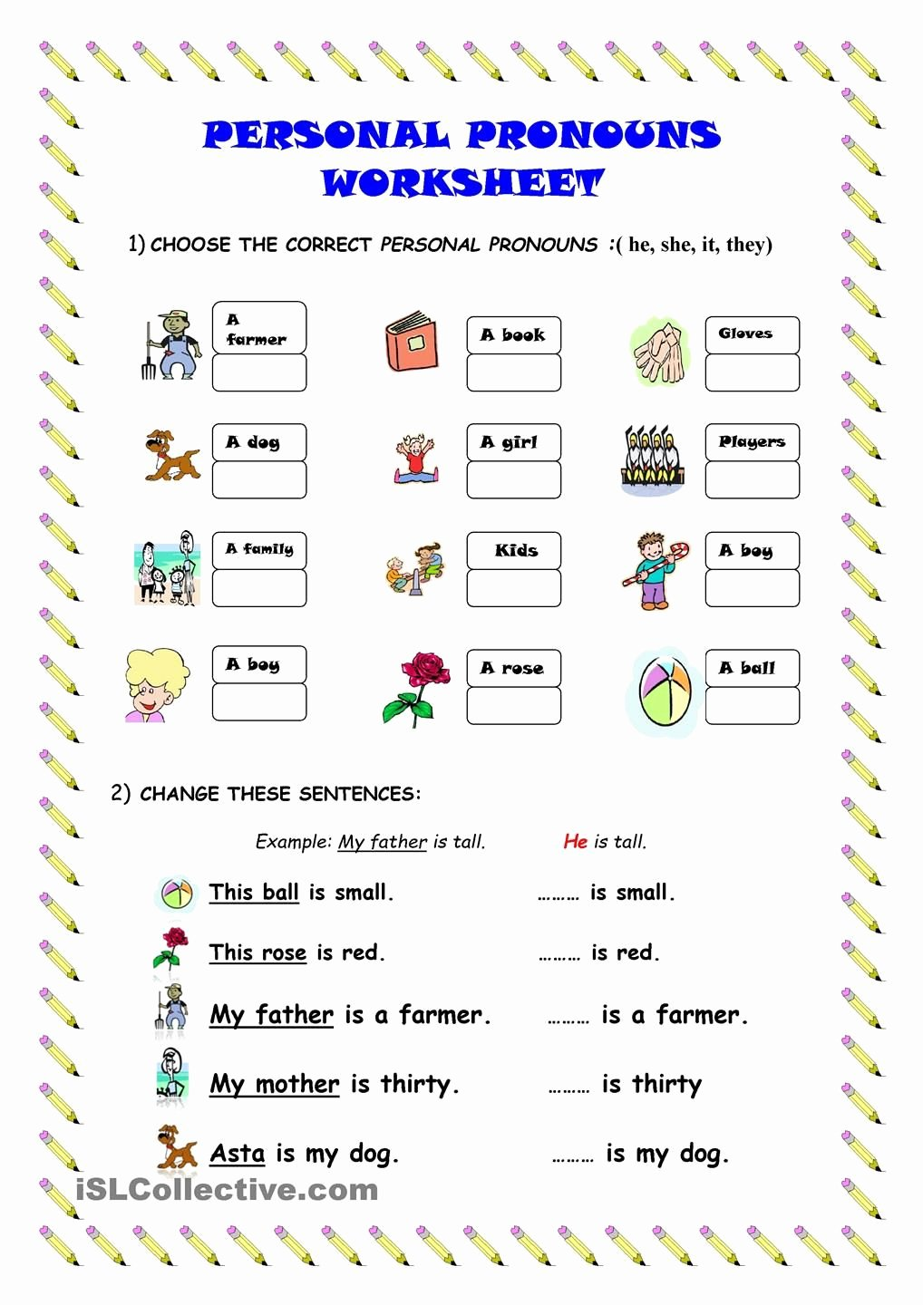 Personal Pronouns Worksheets for Preschoolers Kids Practice Gaspartutor