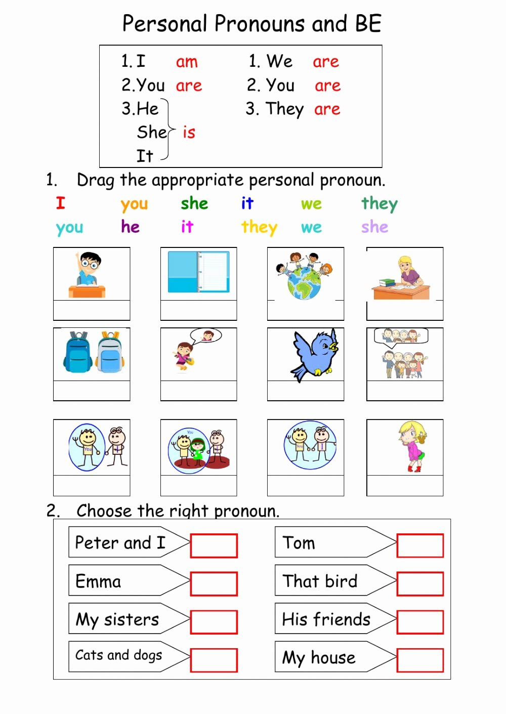 Personal Pronouns Worksheets for Preschoolers New Personal Pronouns and Interactive Worksheet English