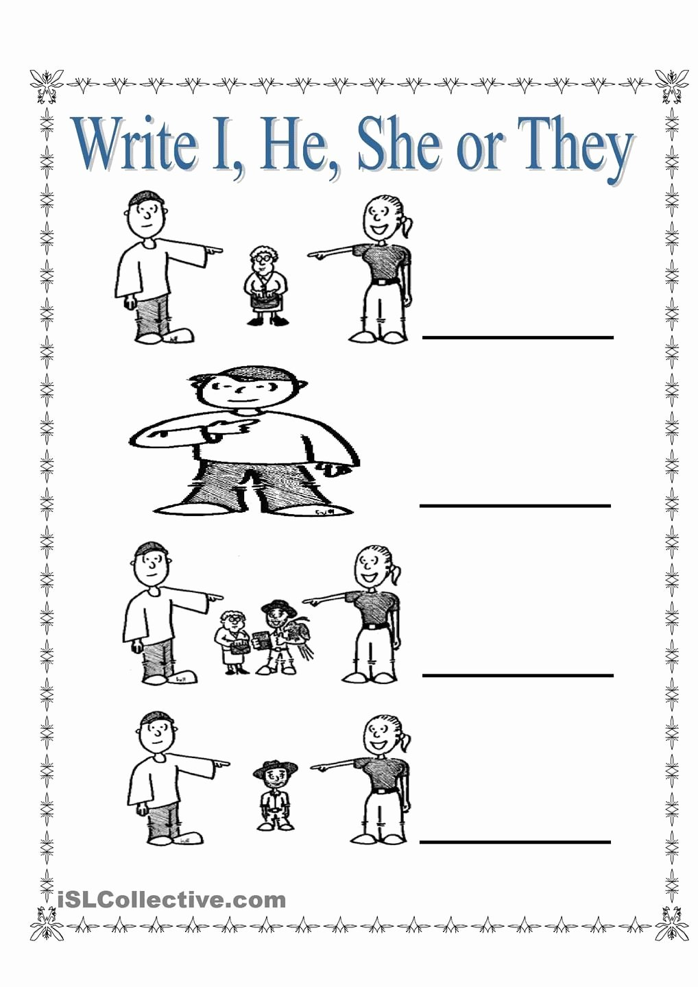 Personal Pronouns Worksheets for Preschoolers Printable Personal Pronouns I She He and they