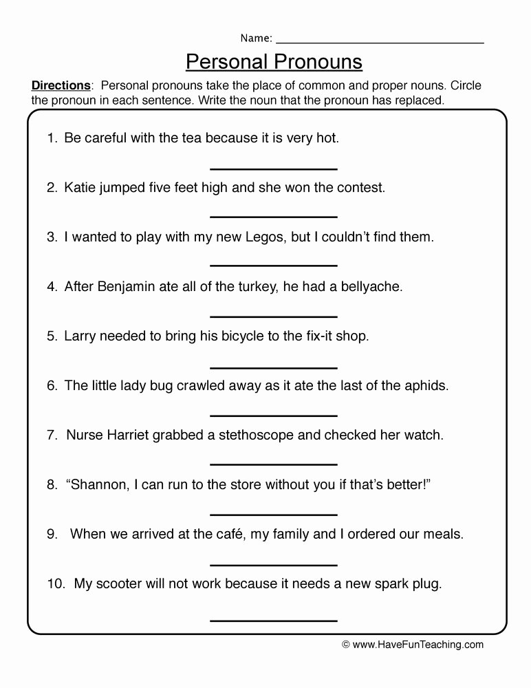 Personal Pronouns Worksheets for Preschoolers Printable Personal Pronouns Worksheet