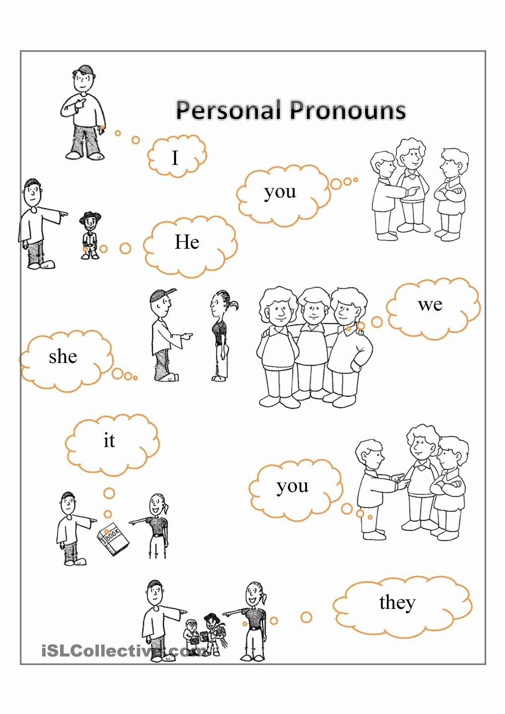Personal Pronouns Worksheets for Preschoolers Printable Year 3