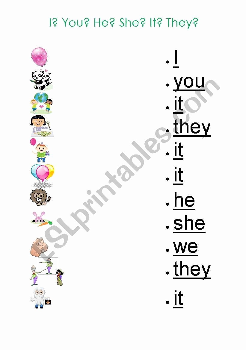 Personal Pronouns Worksheets for Preschoolers top Pronouns Worksheet for Kids Esl Worksheet by Gizmogwai
