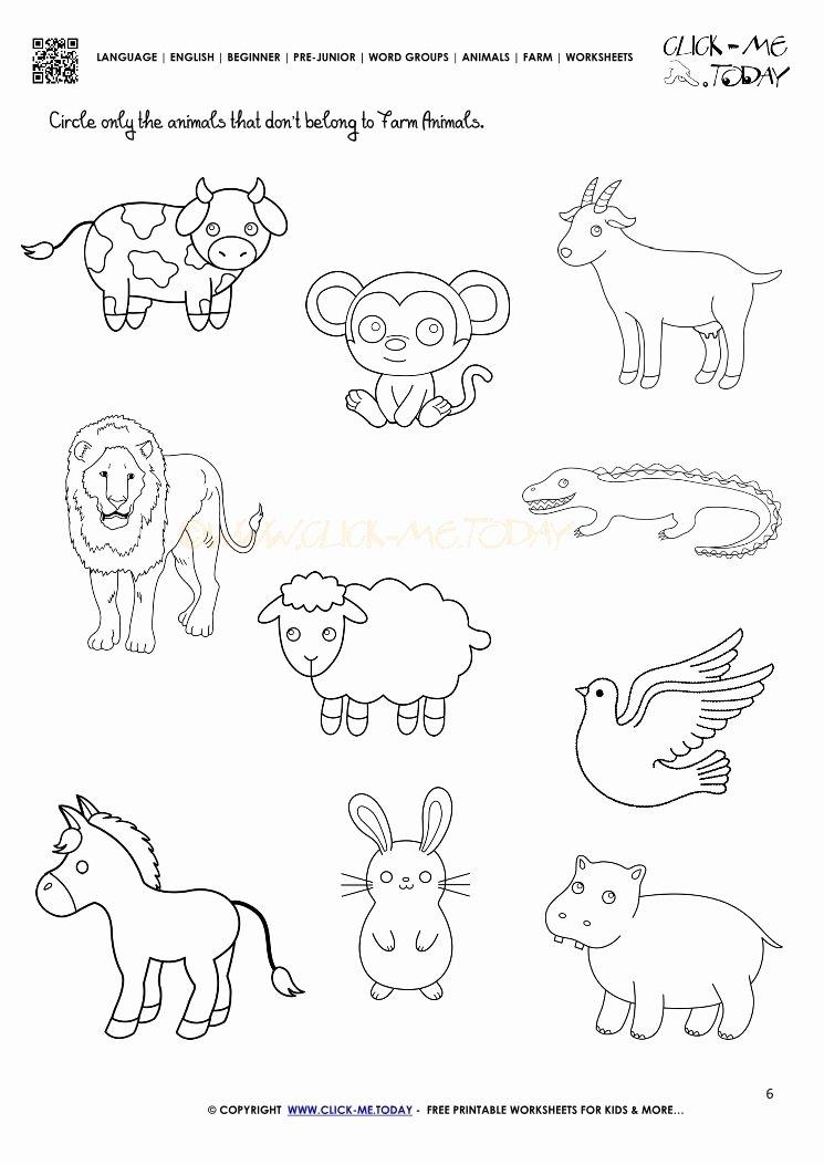 Pet Animals Worksheets for Preschoolers Kids Farm Animals Worksheet Activity Sheet 6