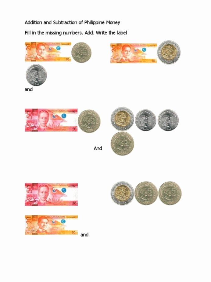 Philippine Money Worksheets for Preschoolers Kids Addition and Subtraction Philippine Money Coins Pesos