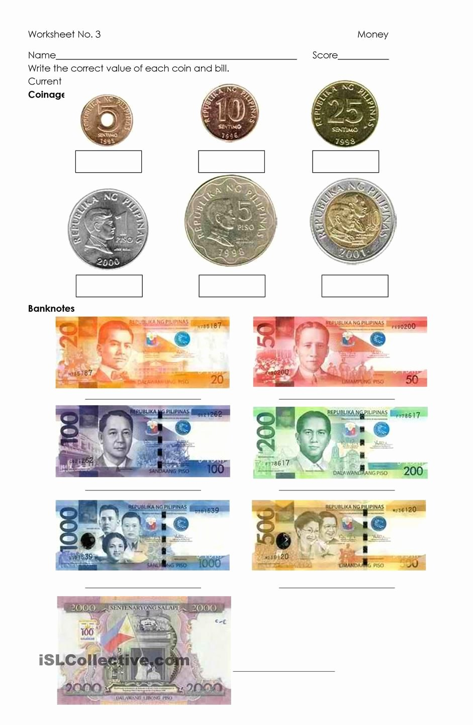 Philippine Money Worksheets for Preschoolers Kids Money Philippine Coins and Bills