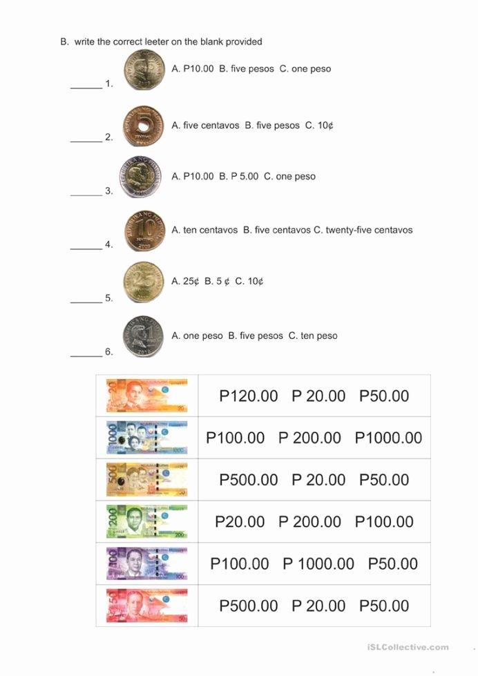 Philippine Money Worksheets for Preschoolers New Philippine Money English Esl Worksheets for Distance