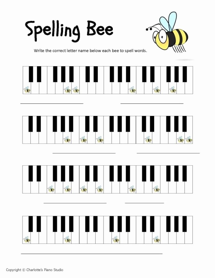 Piano Worksheets for Preschoolers top Spelling Bees with Piano Worksheets Beginner Math and