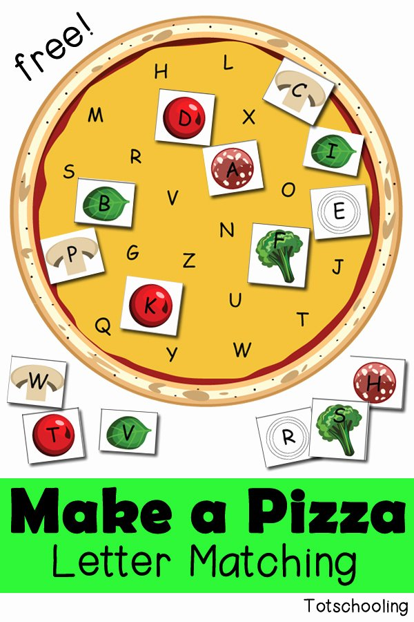 Pizza Worksheets for Preschoolers Free Make A Pizza Letter Matching Activity