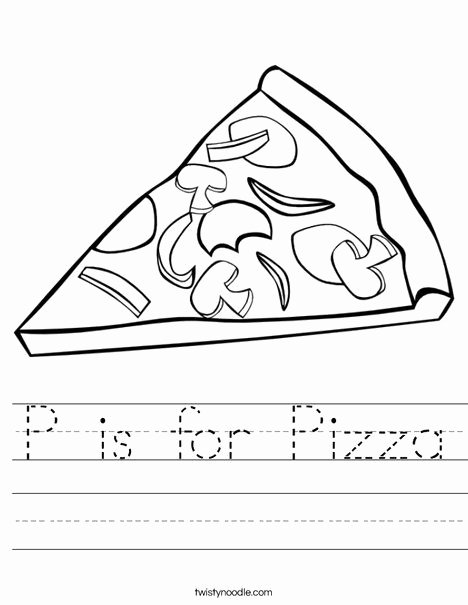 Pizza Worksheets for Preschoolers Fresh P is for Pizza Worksheet