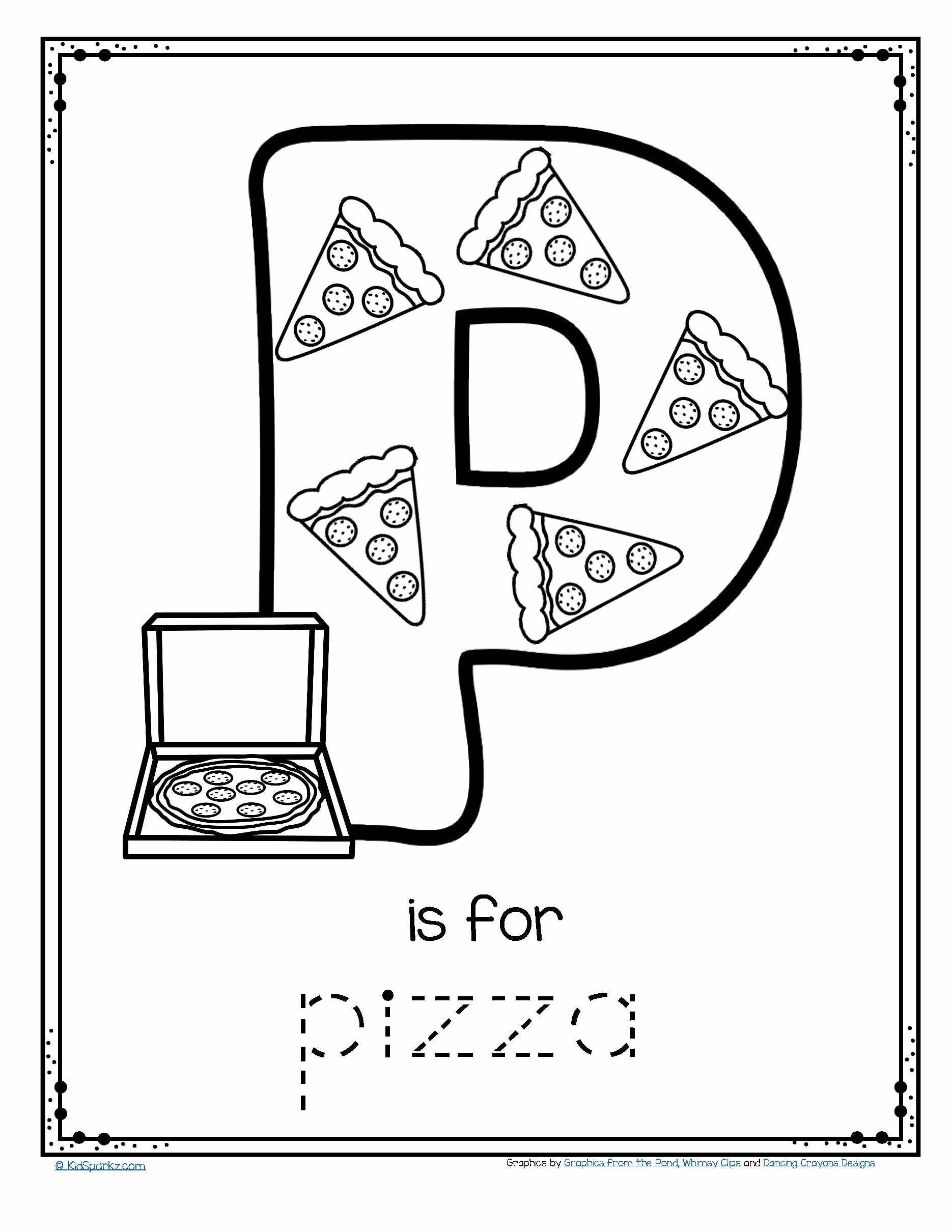 Pizza Worksheets for Preschoolers New Worksheets Free is for Pizza Alphabet Trace and Color