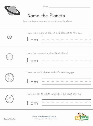 Planet Worksheets for Preschoolers Printable Name the Planets Worksheet