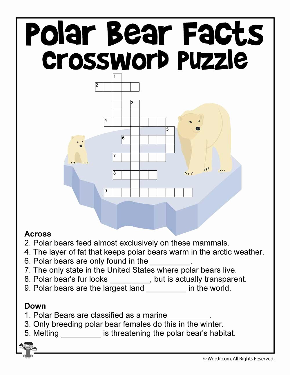 Polar Bear Worksheets for Preschoolers Kids Polar Bear Day Crossword Puzzle Worksheet