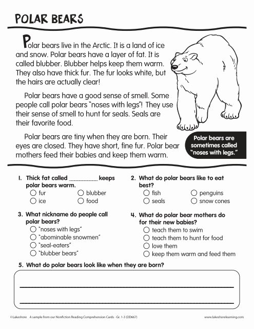 Polar Bear Worksheets for Preschoolers Kids Polar Bears Reading Prehension Passage Lakeshore Bear