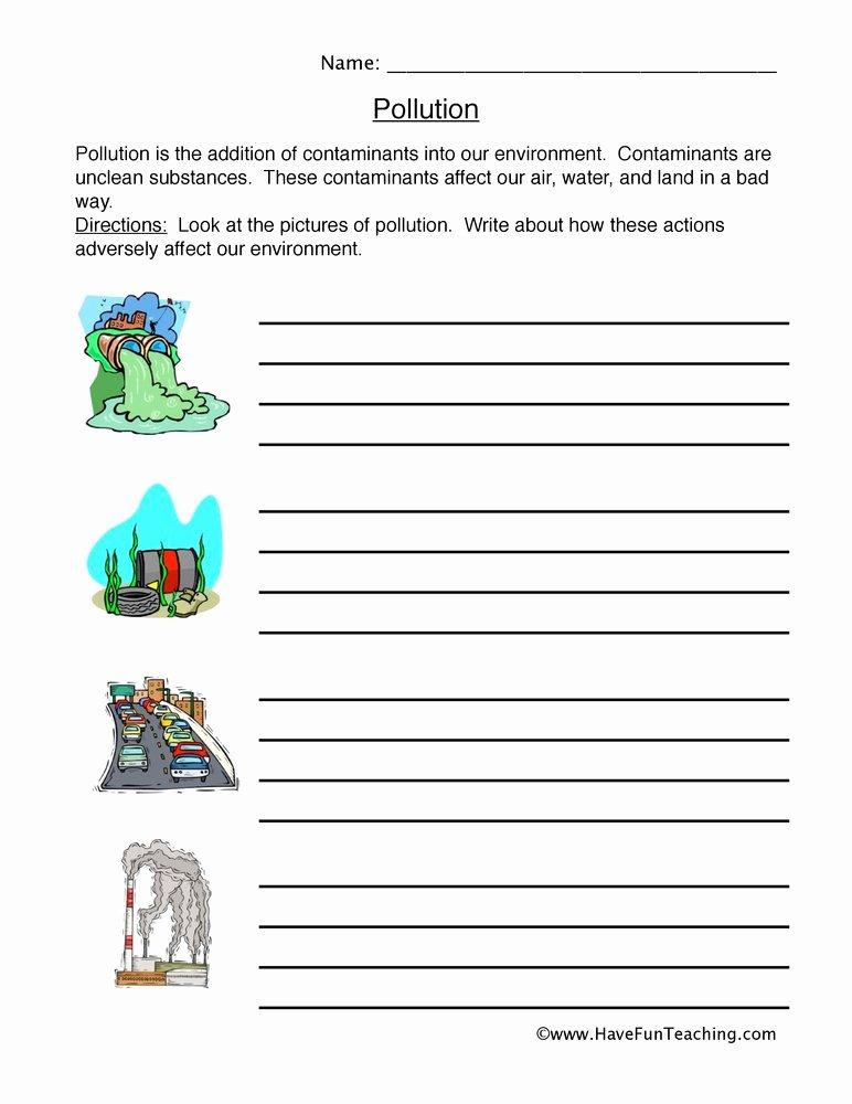 Pollution Worksheets for Preschoolers Kids Pollution Worksheet