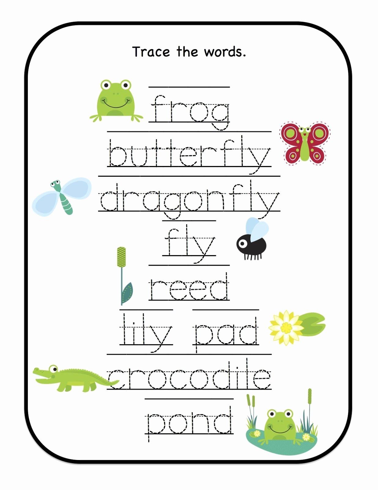 Pond Life Worksheets for Preschoolers top Preschool Printables Down by the Pond Printable Many Trace