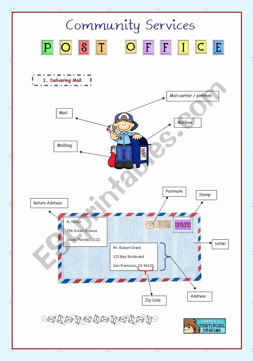 Post Office Worksheets for Preschoolers Best Of Munity Services Post Fice Esl Worksheet by Vanev Free