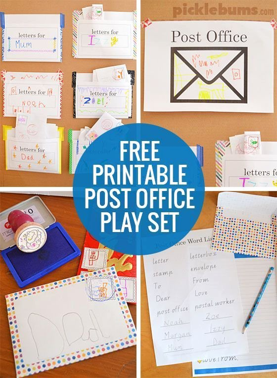 Post Office Worksheets for Preschoolers top Post Fice Play Free Printable Play Set Picklebums