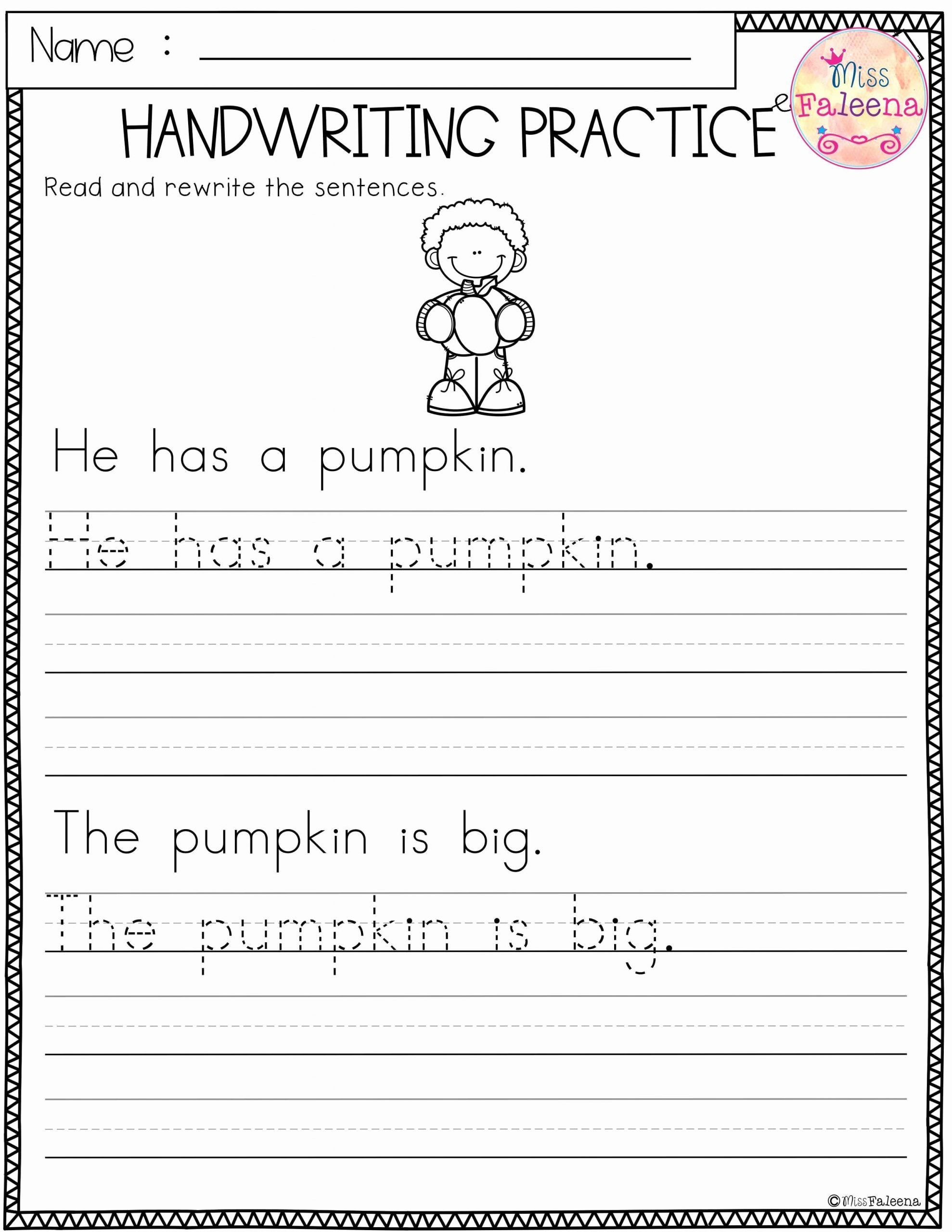 Practice Handwriting Worksheets for Preschoolers Inspirational Free Handwriting Practice This Product Has 5 Pages Of