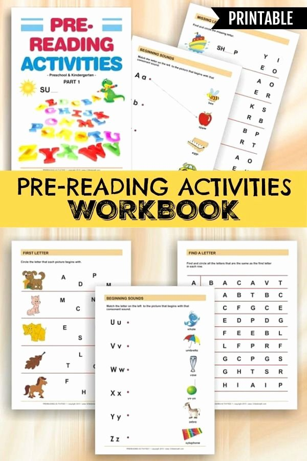 Pre Reading Worksheets for Preschoolers Free Pre Reading Activities Printable Workbook for Preschoolers