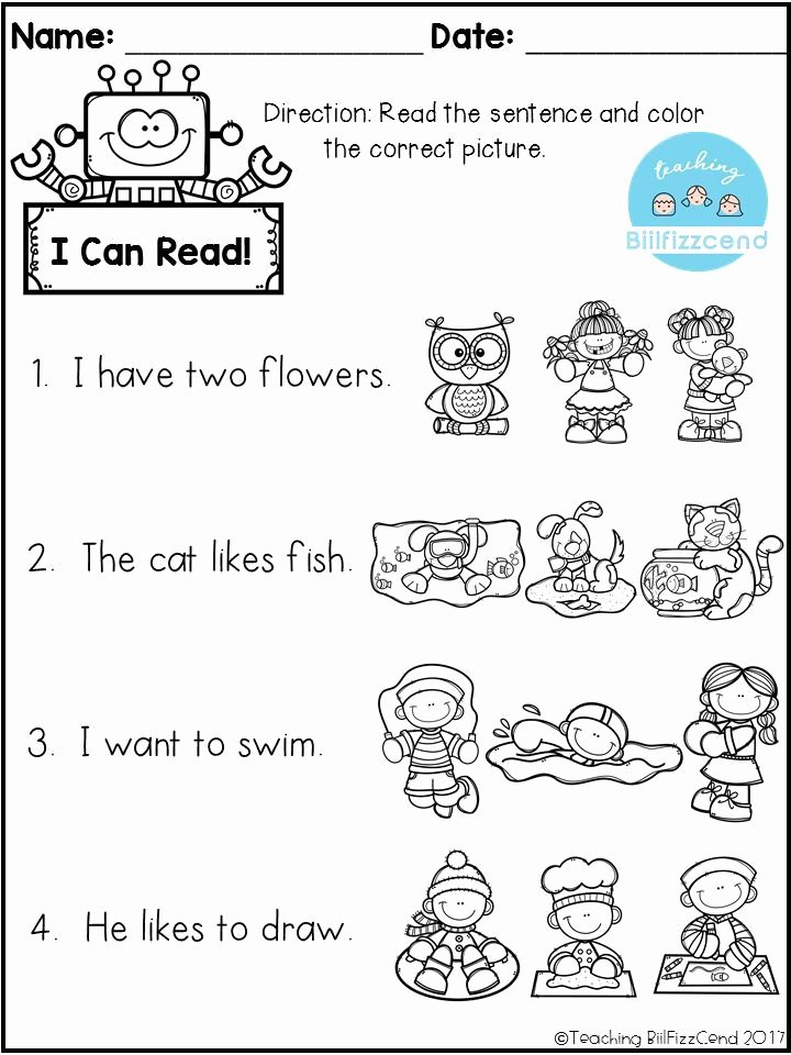Pre Reading Worksheets for Preschoolers Inspirational Free Reading Prehension Check Kindergarten Pre Worksheets