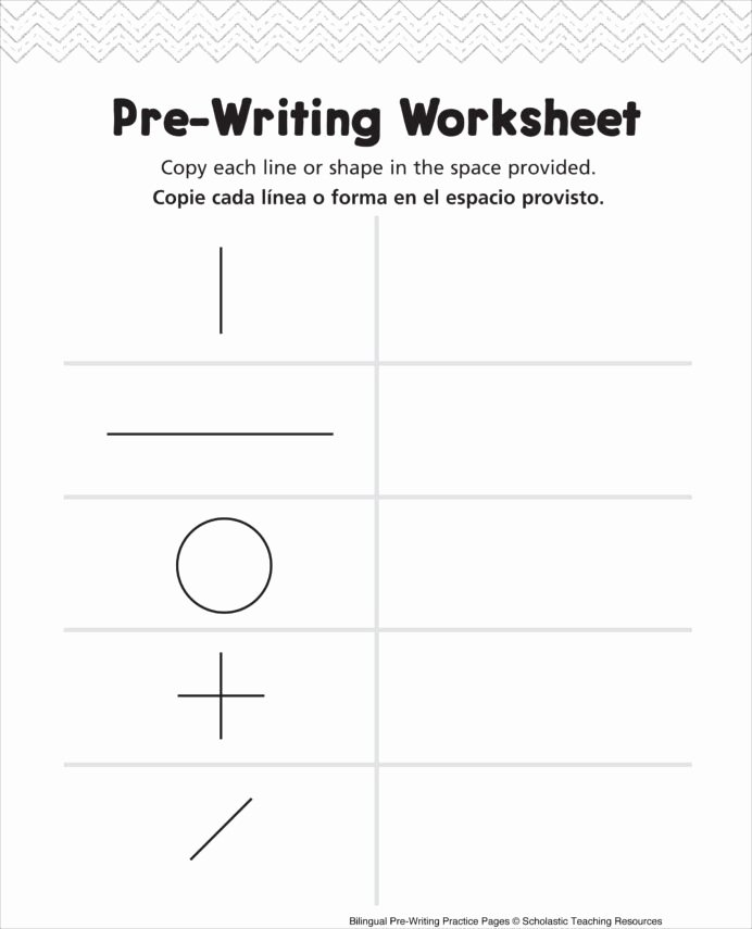 Pre Writing Worksheets for Preschoolers Free Pre Writing Worksheet Bilingual Practice Handwriting Shapes
