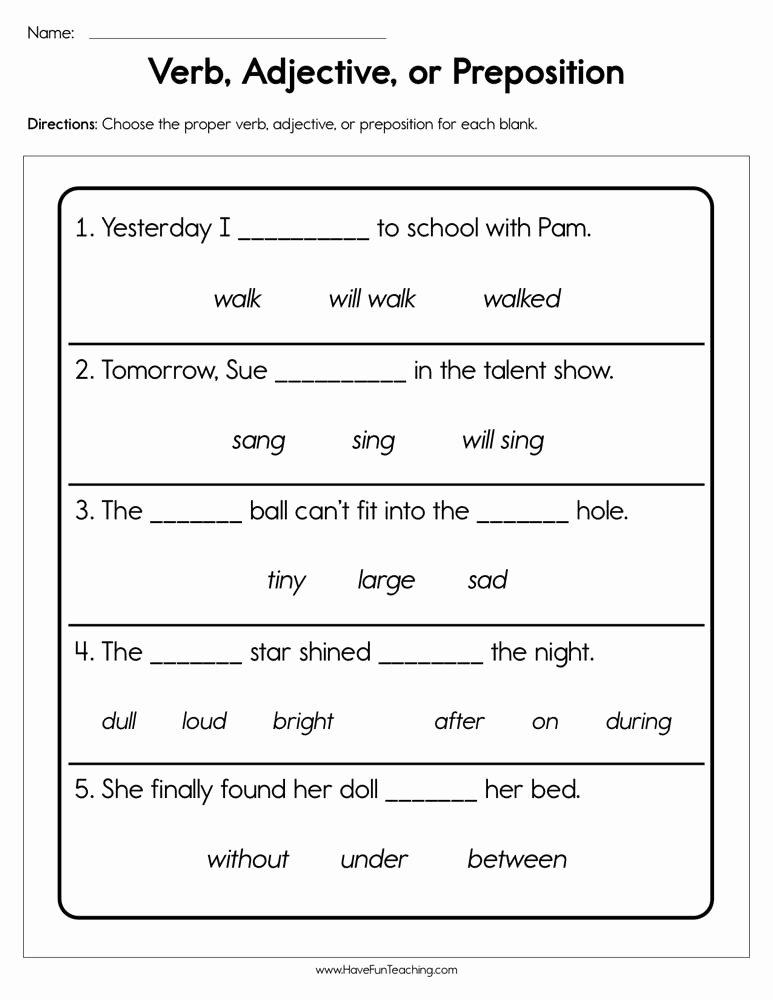 Preposition Worksheets for Preschoolers New Verb Adjective or Preposition Worksheet