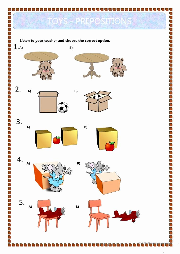 Preposition Worksheets for Preschoolers top Prepositions Of Place Kids English Esl Worksheets for