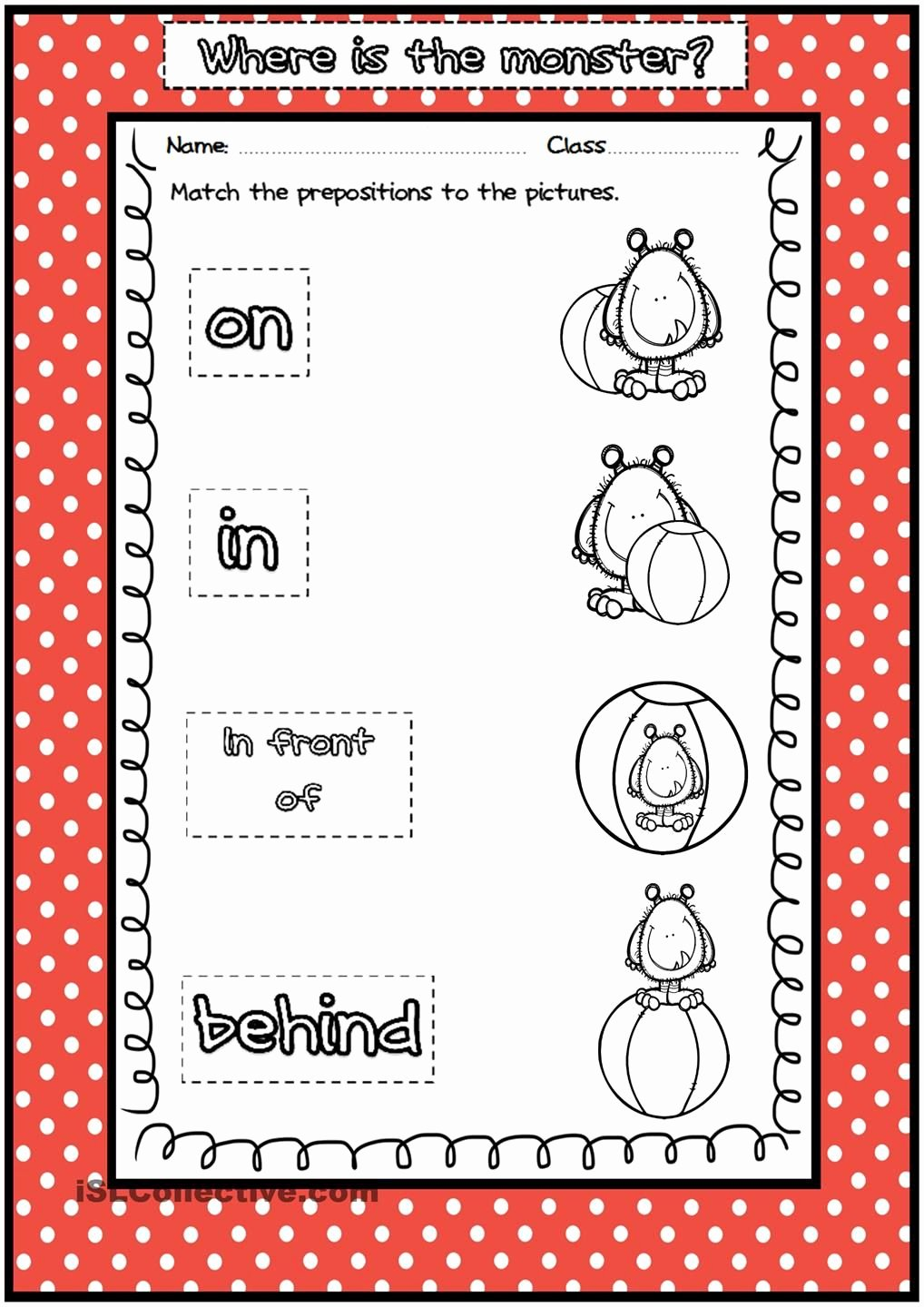 Preposition Worksheets for Preschoolers top where is the Monster Prepositions Of Place